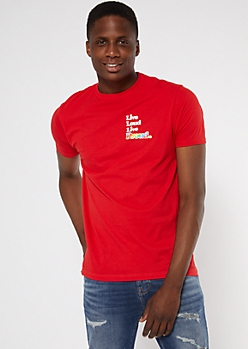 Red Live Proud Rainbow Pride Graphic Tee