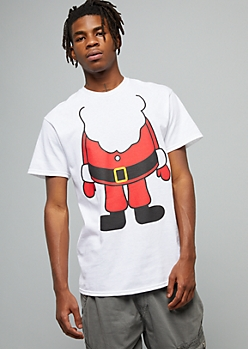Santa Body White Crew Neck Holiday Tee