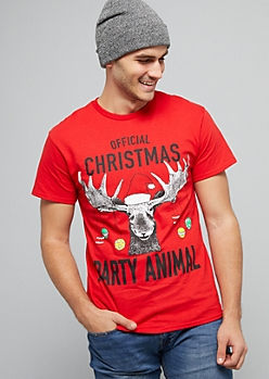 Red Christmas Party Animal Holiday Tee