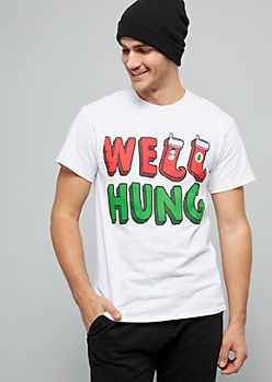 White Well Hung Stocking Holiday Graphic Tee