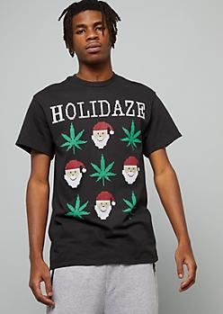 Black Santa Weed Print Holiday Graphic Tee