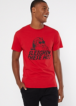 Red Santa Sleighin Short Sleeve Graphic Tee