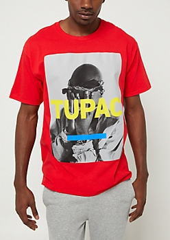 Red Tupac Hands On Face Tee
