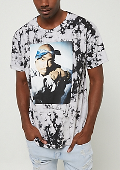 Black Washed Tupac In Bandana Tee