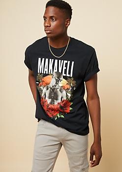 Black Tupac Makaveli Crew Neck Tee