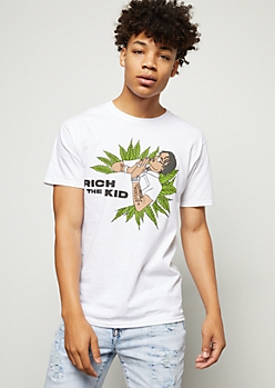 White Weed Print Rich The Kid Graphic Tee