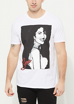 White Selena Red Logo Tee