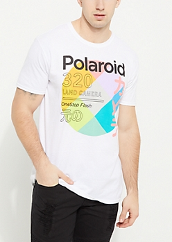 White Polaroid Circle Logo Short Sleeve Tee