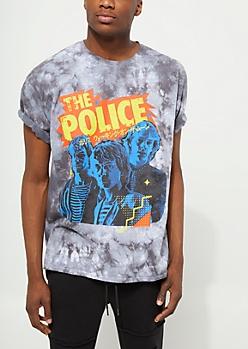 Black Tie Dye The Police Tee