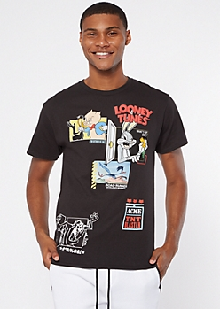 Black Allover Looney Tunes Graphic Tee
