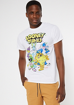 White Digital Looney Tunes Graphic Tee