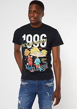 Black 1996 Hey Arnold Graphic Tee