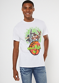 White Airbrushed Space Jam Crew Graphic Tee