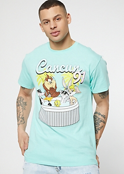 Teal Looney Tunes Cancun Graphic Tee