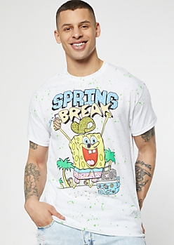 White Paint Splattered SpongeBob Spring Break Graphic Tee