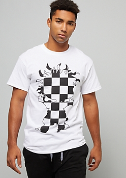 White Checkered Print Chuckie Silhouette Graphic Tee