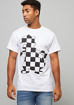 White Checkered Print Reptar Silhouette Graphic Tee