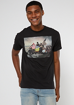 Black SpongeBob Washington Crossing Meme Graphic Tee