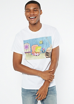 White SpongeBob Head Out Meme Graphic Tee