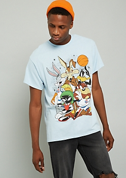 Light Blue Looney Tunes Graphic Short Sleeve Tee