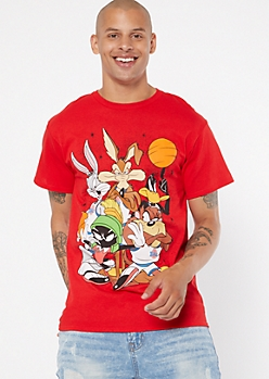 Red Looney Tunes Graphic Short Sleeve Tee
