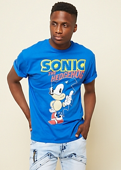 Blue Sonic the Hedgehog Graphic Tee