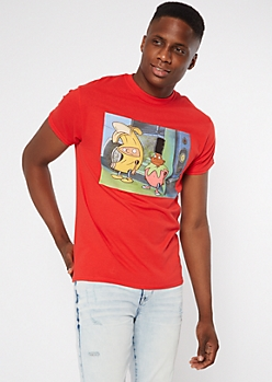 Red Hey Arnold Fruit Suit Graphic Tee