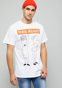 White Beavis And Butt Head This Rocks Graphic Tee
