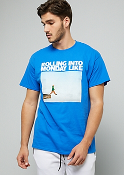 Royal Blue Rolling Into Monday Meme Graphic Tee