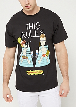 Black Beavis & Butthead This Rules Graphic Tee