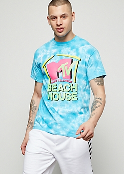 Blue Tie Dye Beach House MTV Graphic Tee