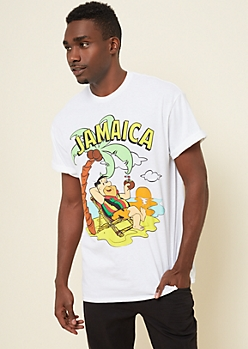 White Fred Flintstone In Jamaica Tee