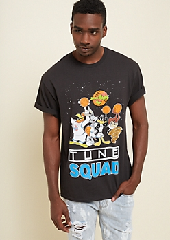 Black Paint Splattered Tune Squad Tee