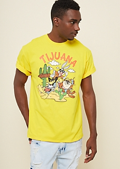 Yellow Looney Tunes Tijuana Crew Tee