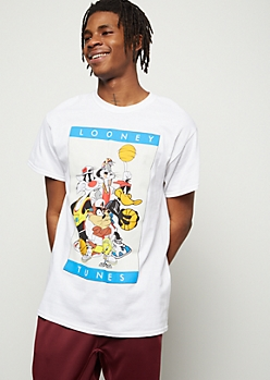 White Looney Tunes Basketball Graphic Tee