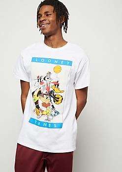 White Looney Tunes Basketball Graphic Tee