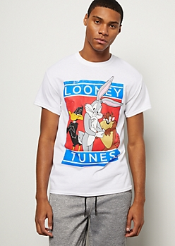White Faded Looney Tunes Trio Graphic Tee