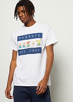 White Striped Rugrats 1991 Graphic Tee