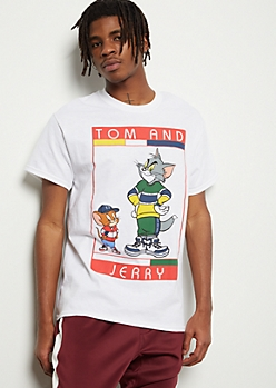 White Tom And Jerry Street Graphic Tee