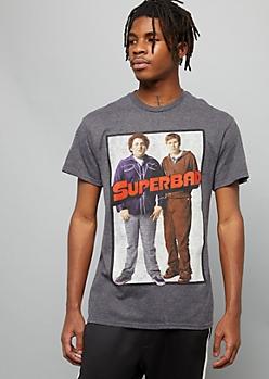 Gray Superbad Movie Crew Neck Graphic Tee