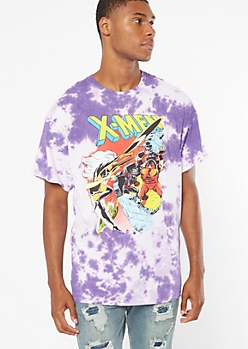 Purple Tie Dye X Men Graphic Tee