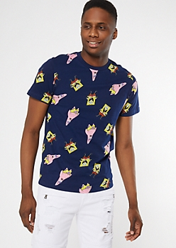 Navy SpongeBob SquarePants Soft Graphic Tee