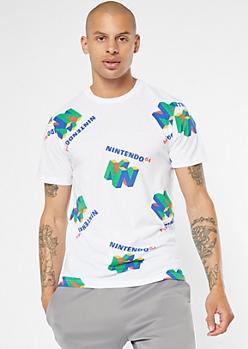 White Nintendo 64 Print Tee