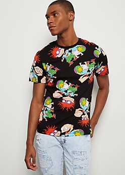 Black Allover Rugrats Print Graphic Tee