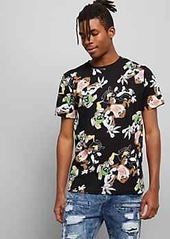 Black Looney Tunes Crew Print Graphic Tee