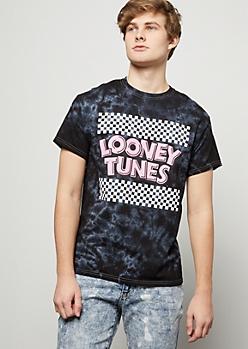 Black Tie Dye Checkered Print Looney Tunes Graphic Tee