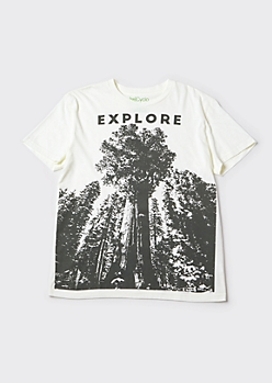 Recycled White Redwood Explore Graphic Tee