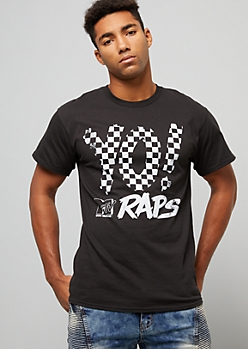 Black MTV Raps Checkered Print Graphic Tee