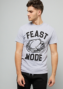 Gray Feast Mode Crew Neck Graphic Tee