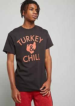 Black Turkey And Chill Crew Neck Graphic Tee